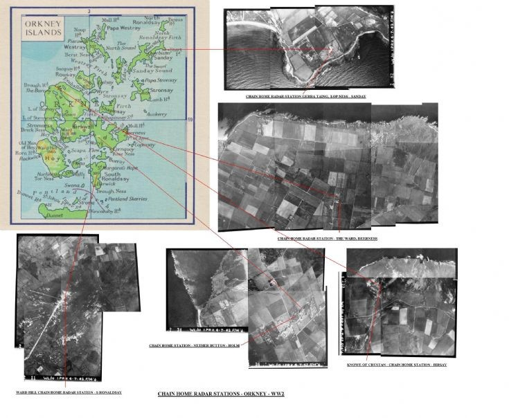 Map and RAF images of radar stations