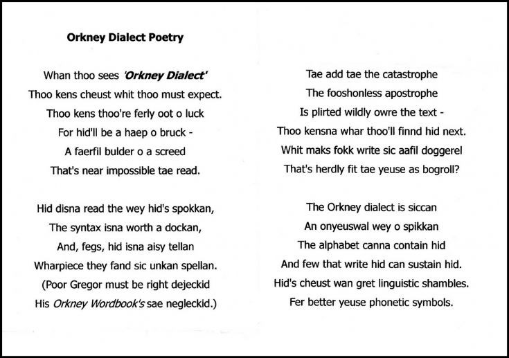 Orkney dialect poetry