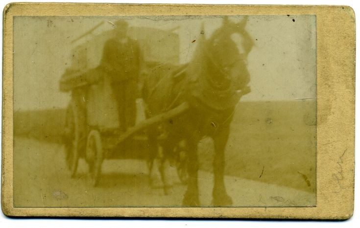 Magnus Russell with van in 1890s