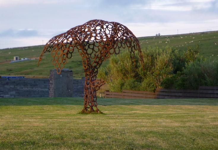 A tree made from horseshoes