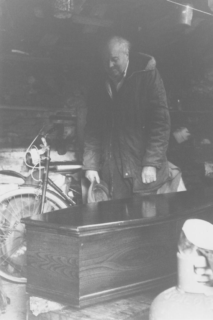 Edwin Harrold with film prop coffin