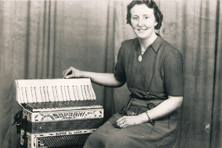 Meg Allan, accordionist in the Deerness Band