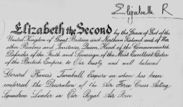 Sqn Ldr Turnbull's AFC citation