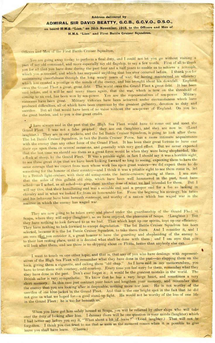 Admiral Beatty's address