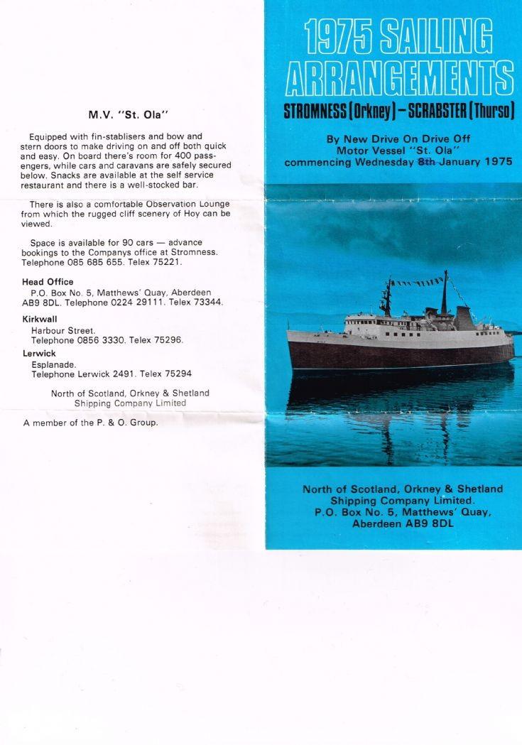 St Ola timetable, 1975
