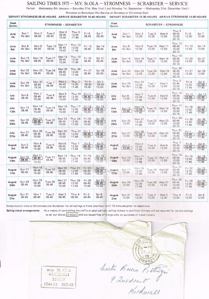 St Ola timetable from 1975