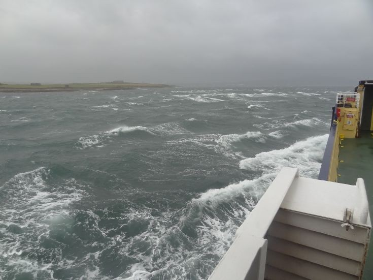 Rough seas returning from Shapinsay