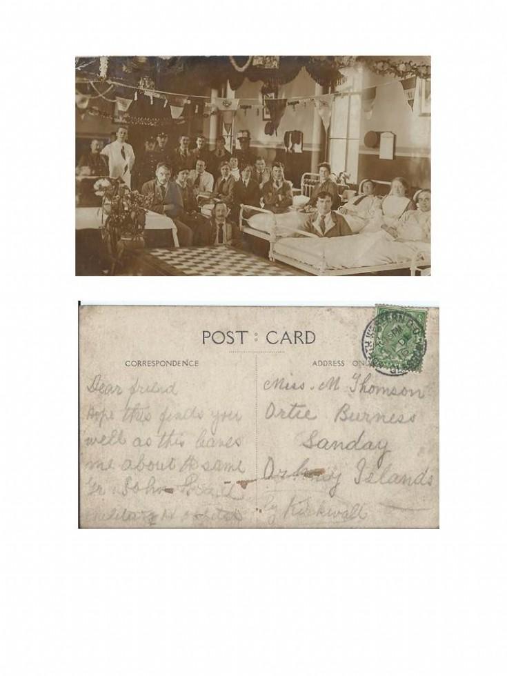 World War 1 postcard from hospital