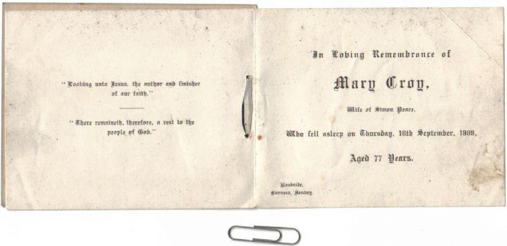 Memoriam card for Mary Croy