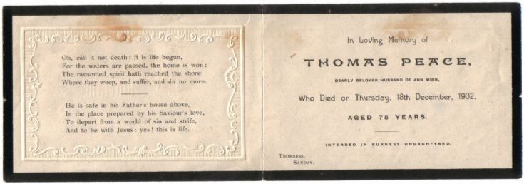 Memoriam card for Thomas Peace