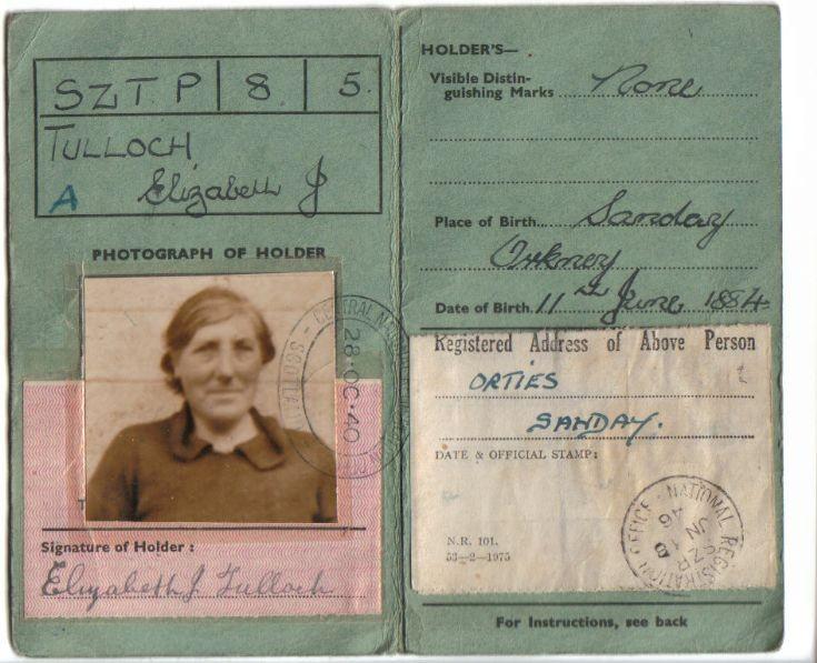 Identity card of Lizzie Tulloch, Burness