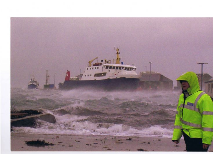 Stormy kirkwall pier
