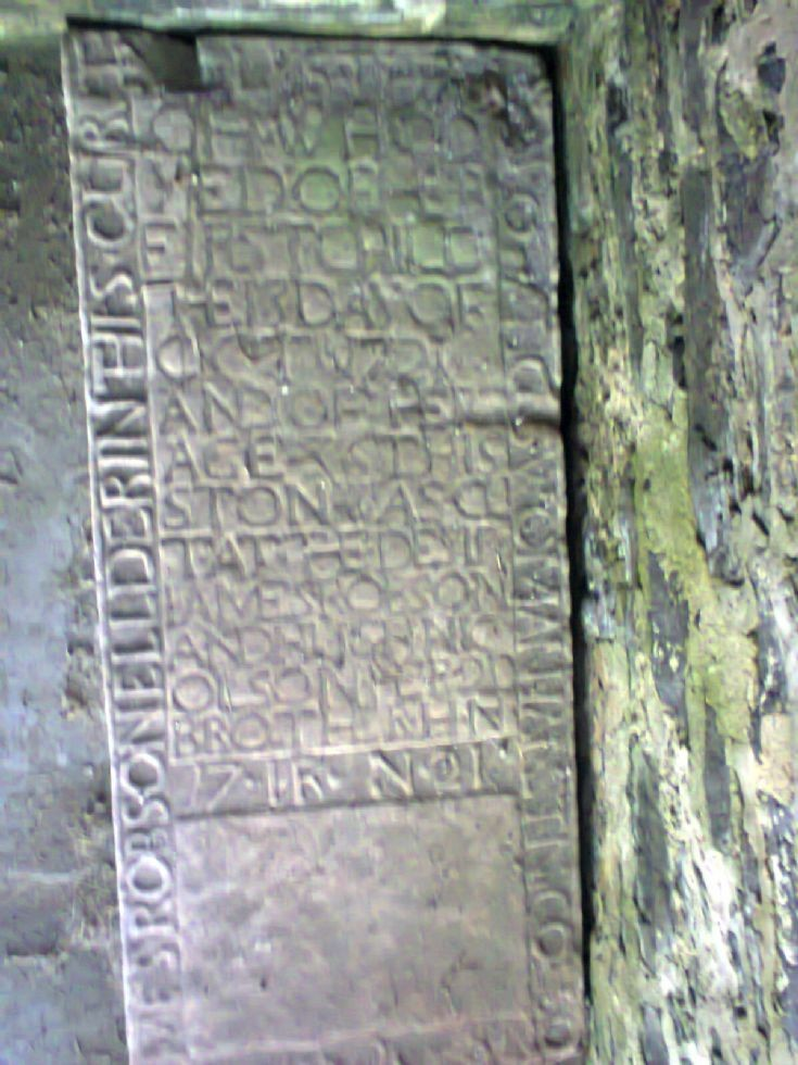 Flat stone inside of Moodie Mausoleum