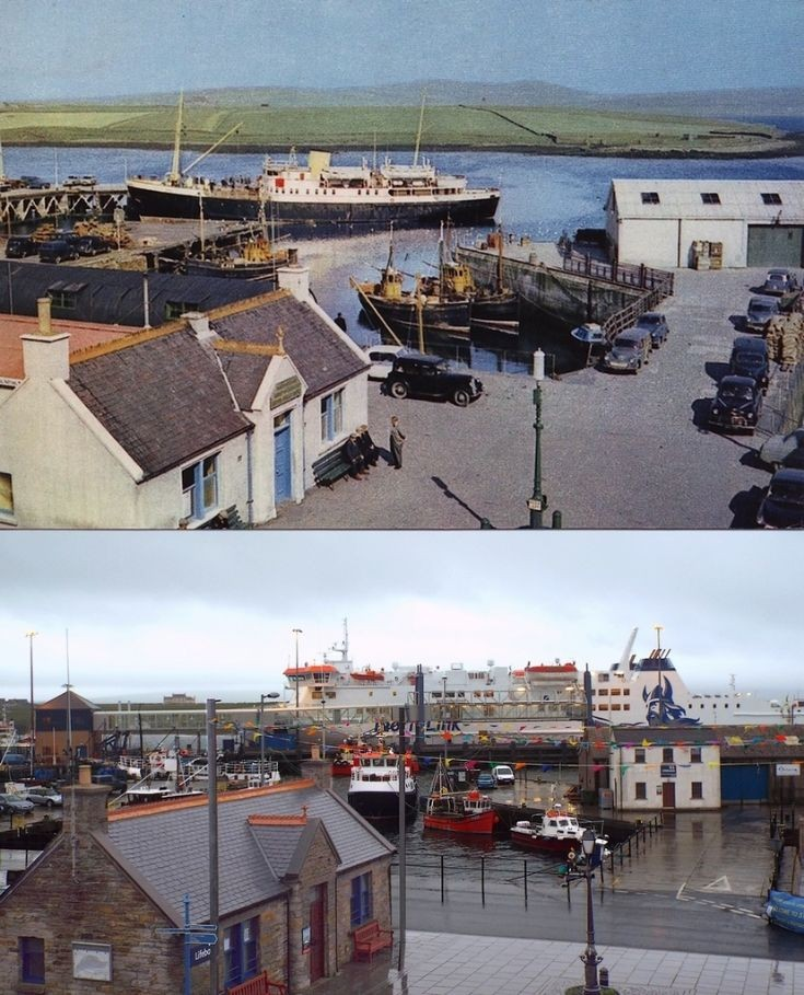 View over Stromness pierhead 1950s and now.