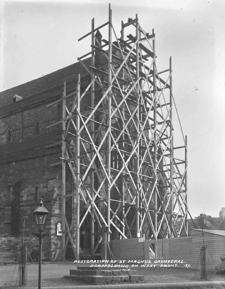 Scaffolding on Cathedral west front