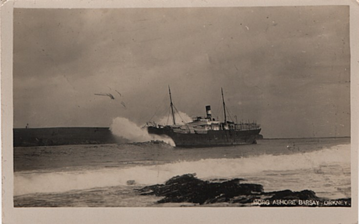 The SS Borg ashore in Birsay Bay