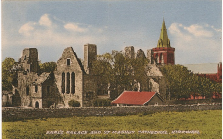 Earl's Palace and St Magnus Cathedral, colourised
