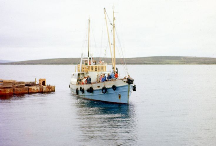 MV Watchful approaching Lyness Pier