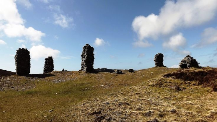 Stone Pillars above Cuween Cairn