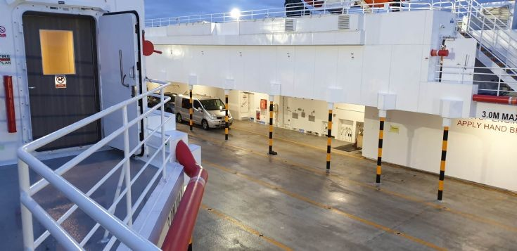 Car deck on the new MV Alfred
