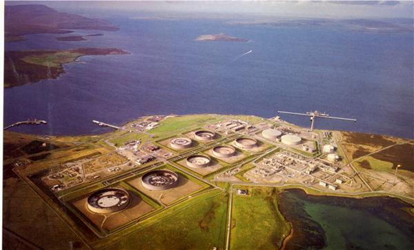 Aerial View of the Flotta Oil Teminal