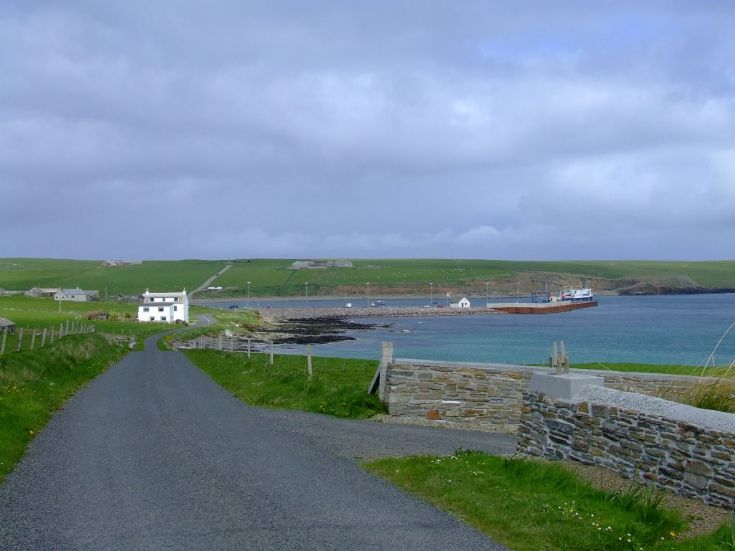Westray terminal and Grimbust hill
