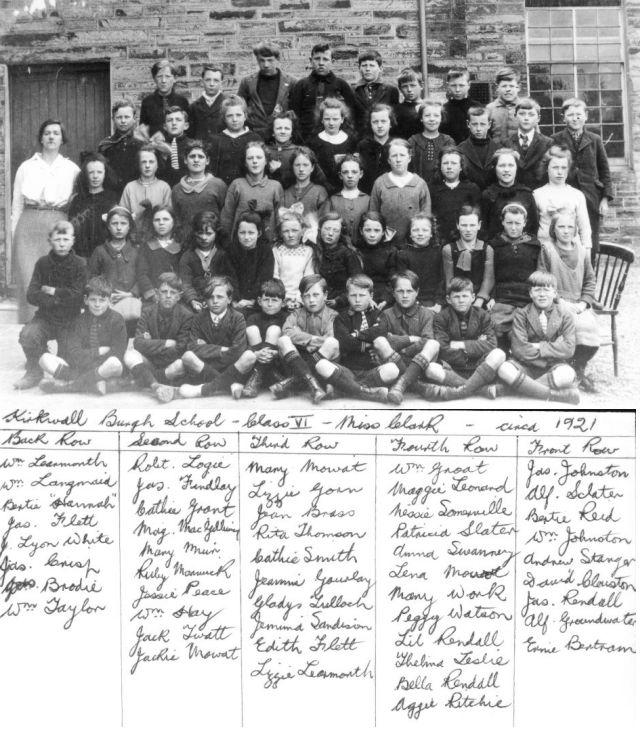 Kirkwall Burgh School, Class VI, 1921