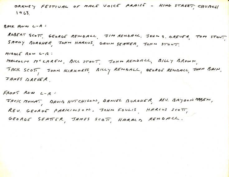 Names of  singers in the 'Men of Orkney' choir