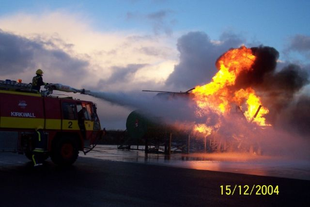 Fire Practice at Kirkwall Airport