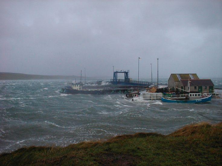 Eday Pier in NW  blow