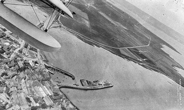 Kirkwall harbour from the air, 1931