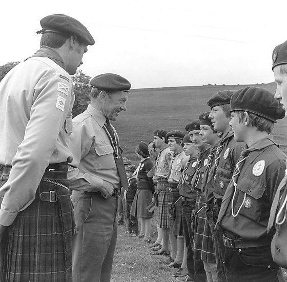 Chief Scout visits a camp at Binscarth, Firth,