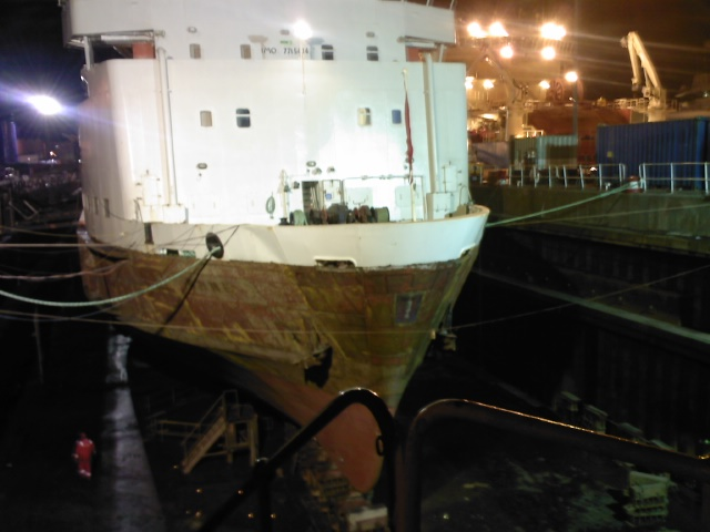 MV Claymore half way through paint job