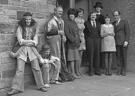 Kirkwall Arts Club cast members outside the Club
