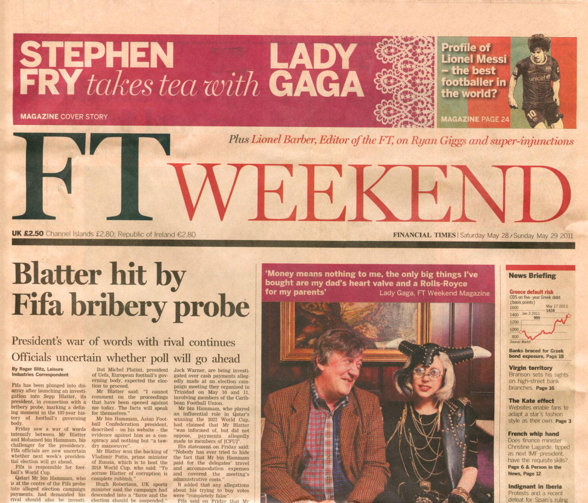 Ft Weekend Newspaper Cover May 2011