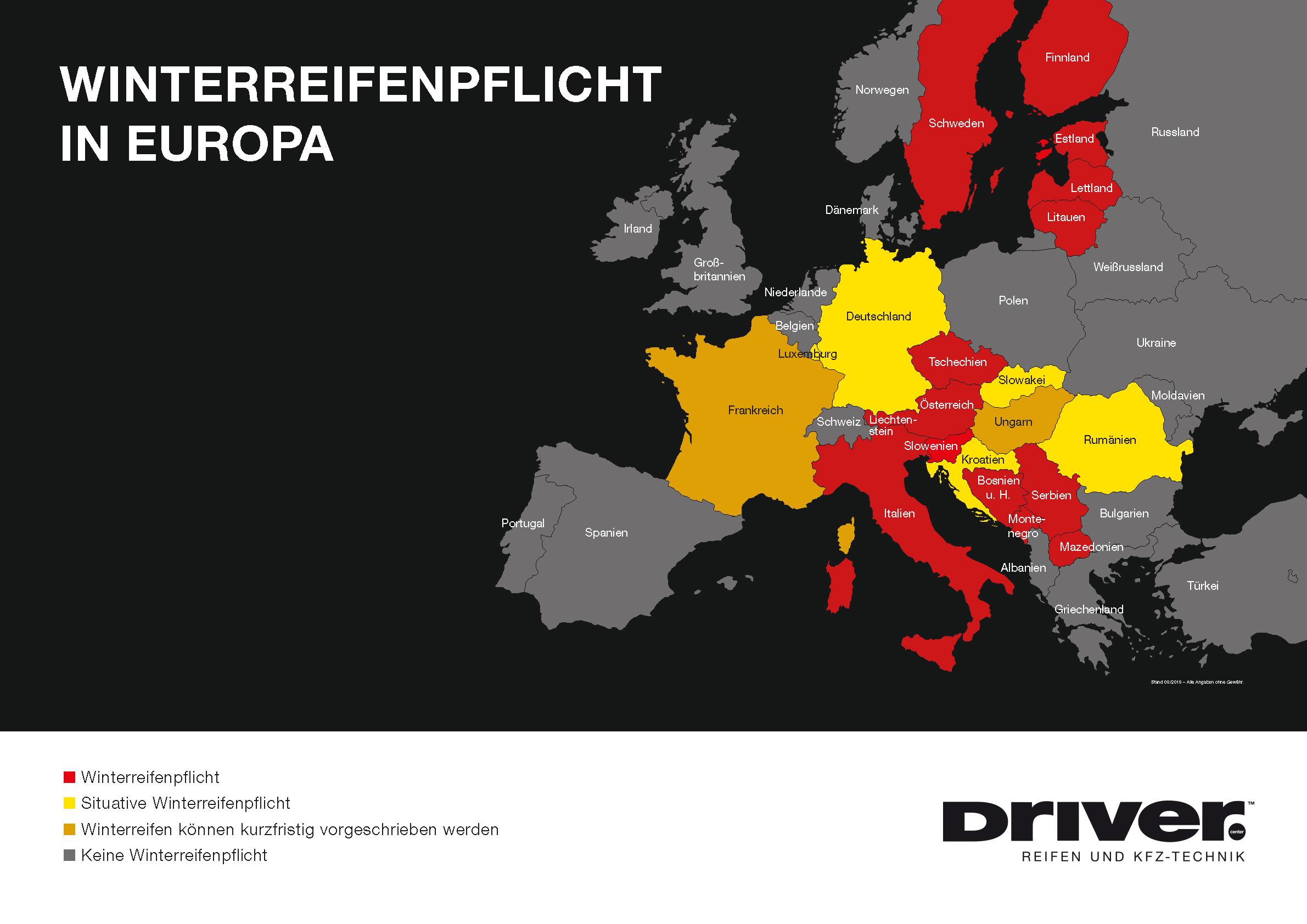 Winterreifenpflich in Europa