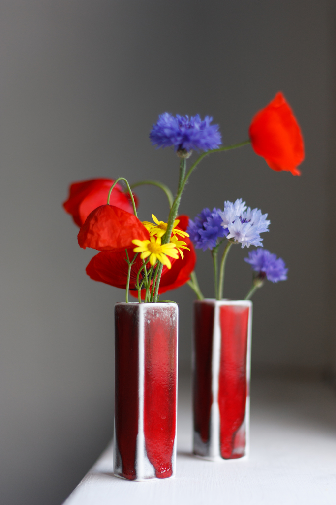 Red studio glaze bud vases with poppys 3 of 8 28196657572 o