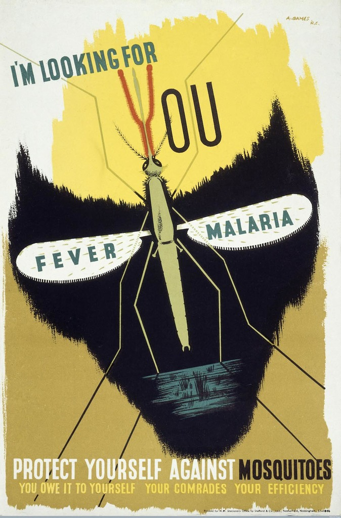 Anti malaria poster by abram games  1941 %c2%a9 estate of abram games