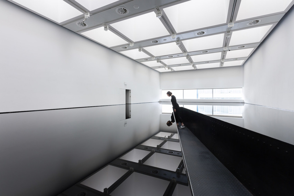 02 installation view of richard wilson  20 50  %281987%29 at space shifters   %c2%a9 copyright the artist  courtesy hayward gallery 2018. photo  mark blower