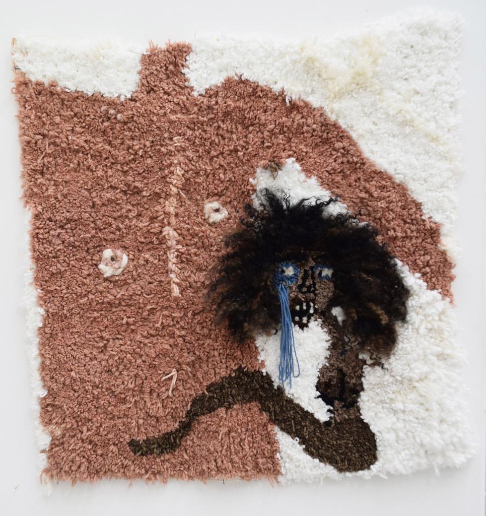 Anya paintsil me and jack 2019 latch hooked acrylic  wool  cotton   kanekalon hair   human hair on rug hooking canvasn39%e2%80%9d x 39%e2%80%9d