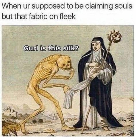 Meme when ur supposed to be claiming souls but that fabric on fleek gurl is this silk