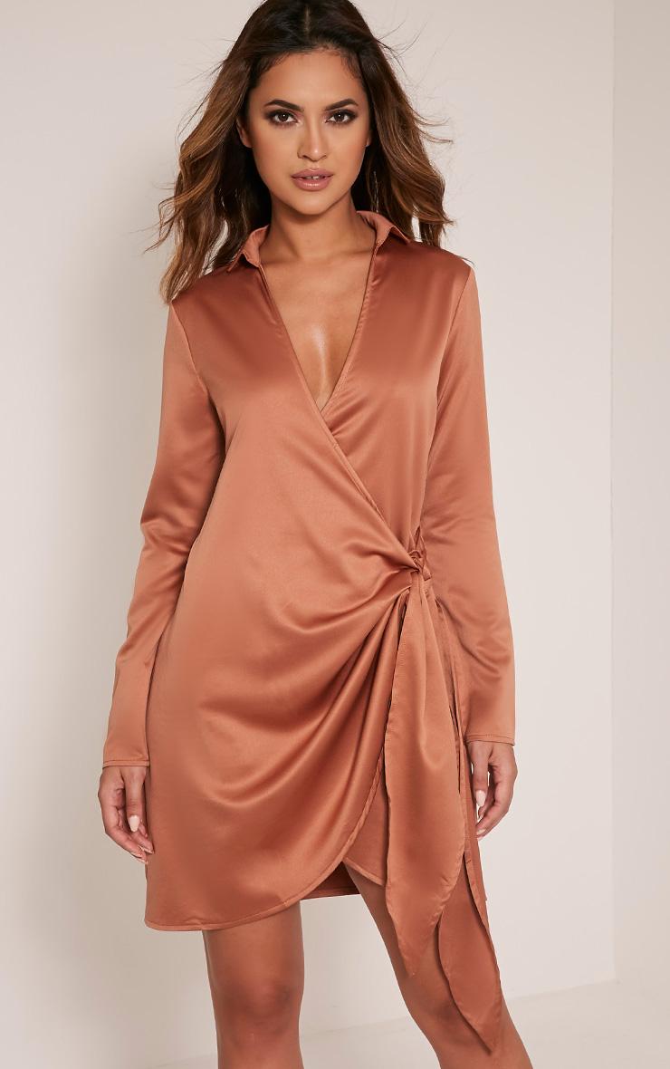 Shaylene Tobacco Tie Side Satin Shirt Dress