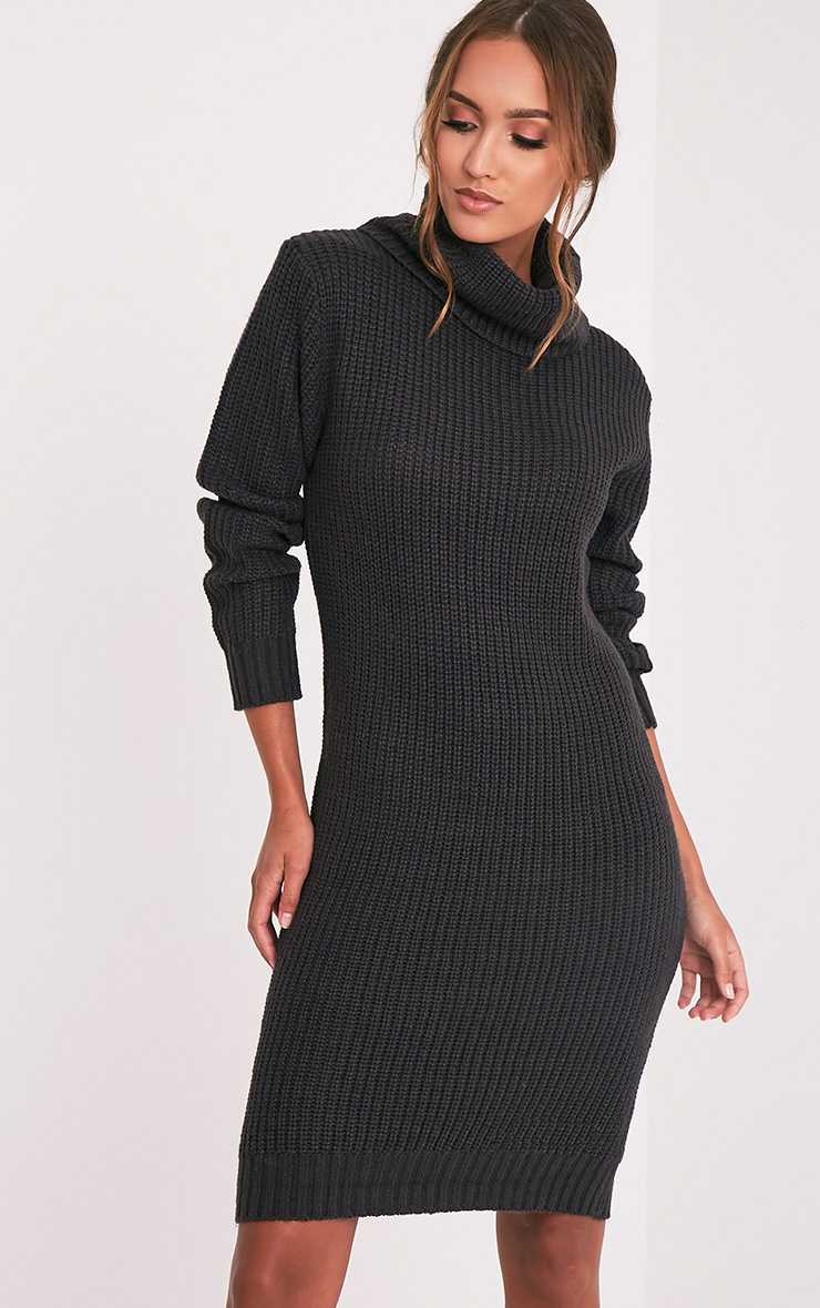 Aneira Charcoal Cowl Neck Midi Ribbed dress