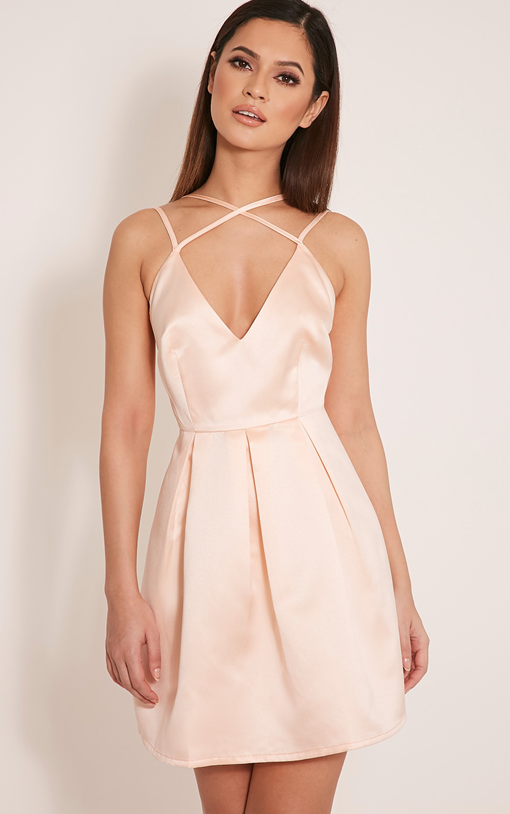 Hilari Blush Strappy Satin Skater Dress