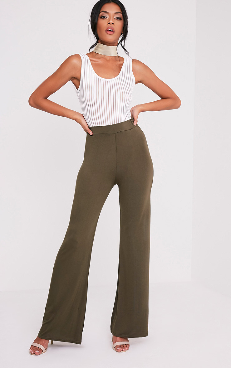 Basic Khaki Jersey Wide Leg Trousers