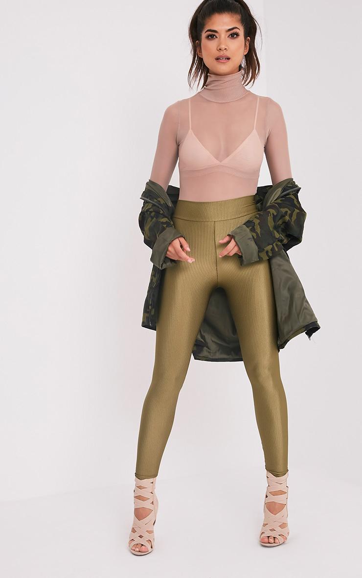 Adella Khaki Metallic Ribbed Leggings