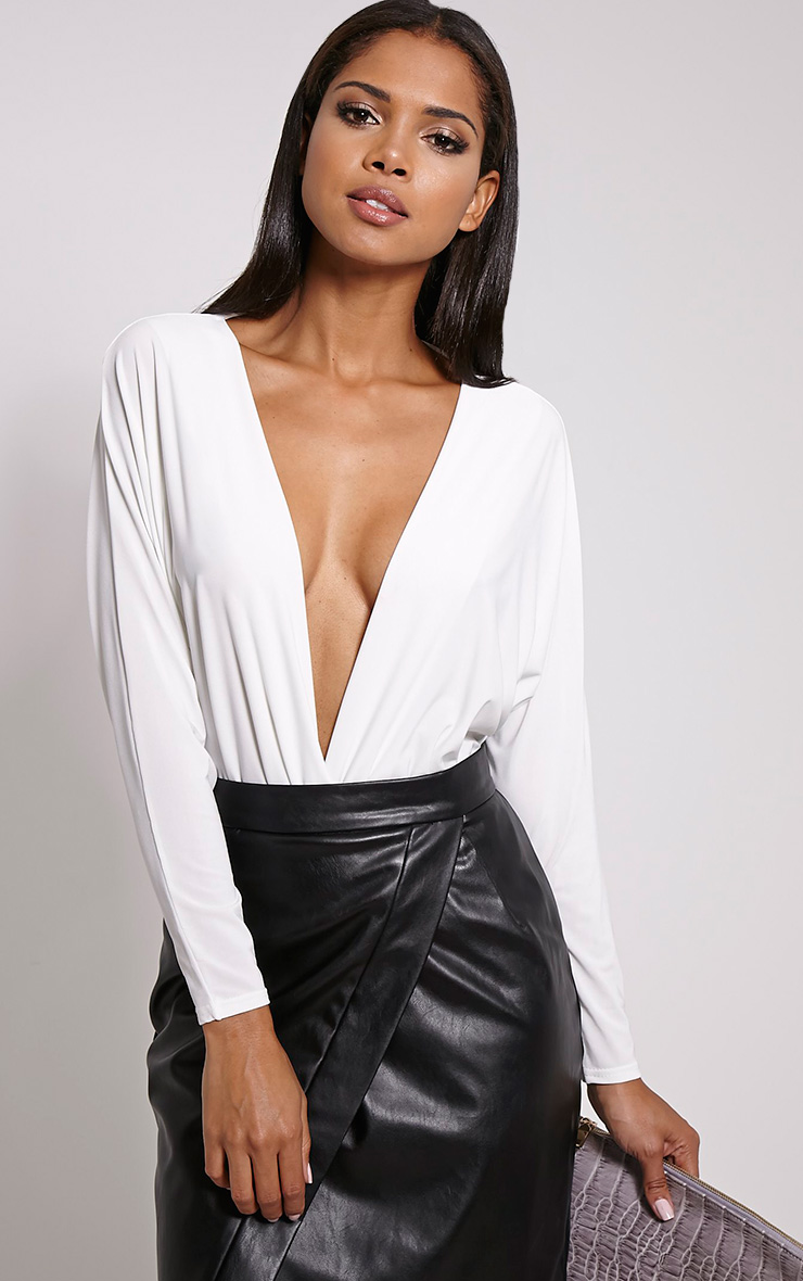 Adelle Cream Thong Long Sleeve Deep Plunge Bodysuit