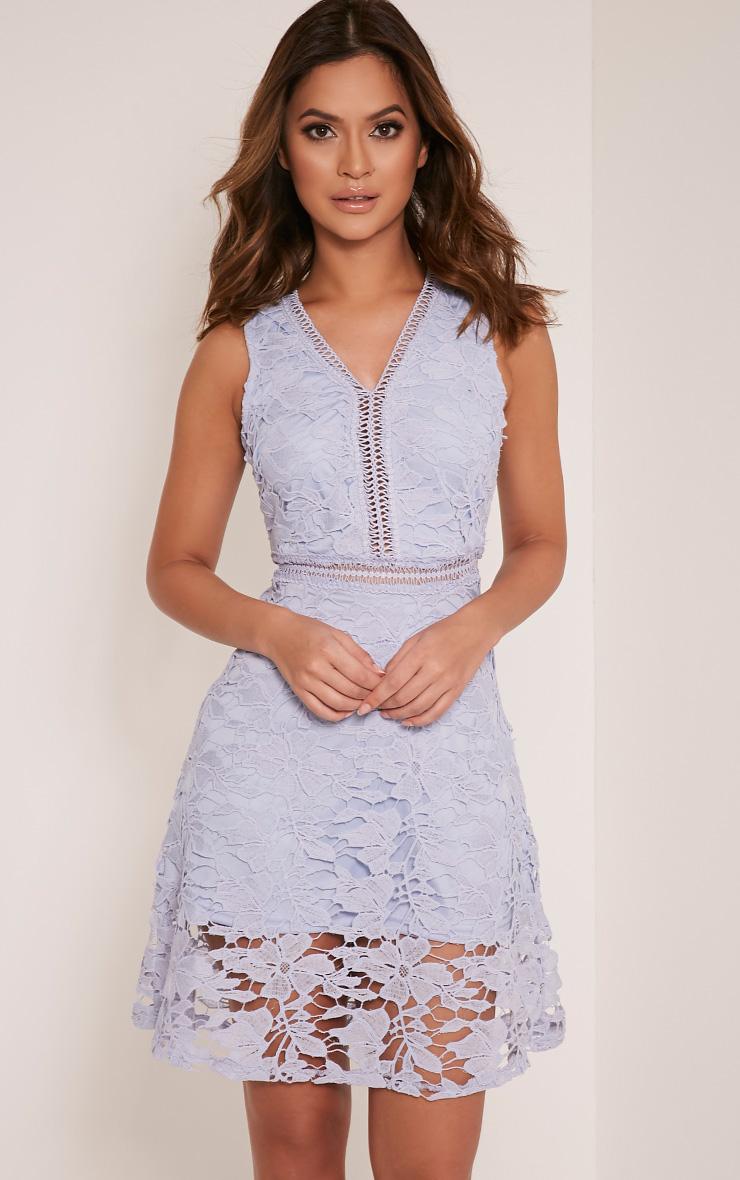 Roxy Baby Blue Crochet Lace Midi Dress