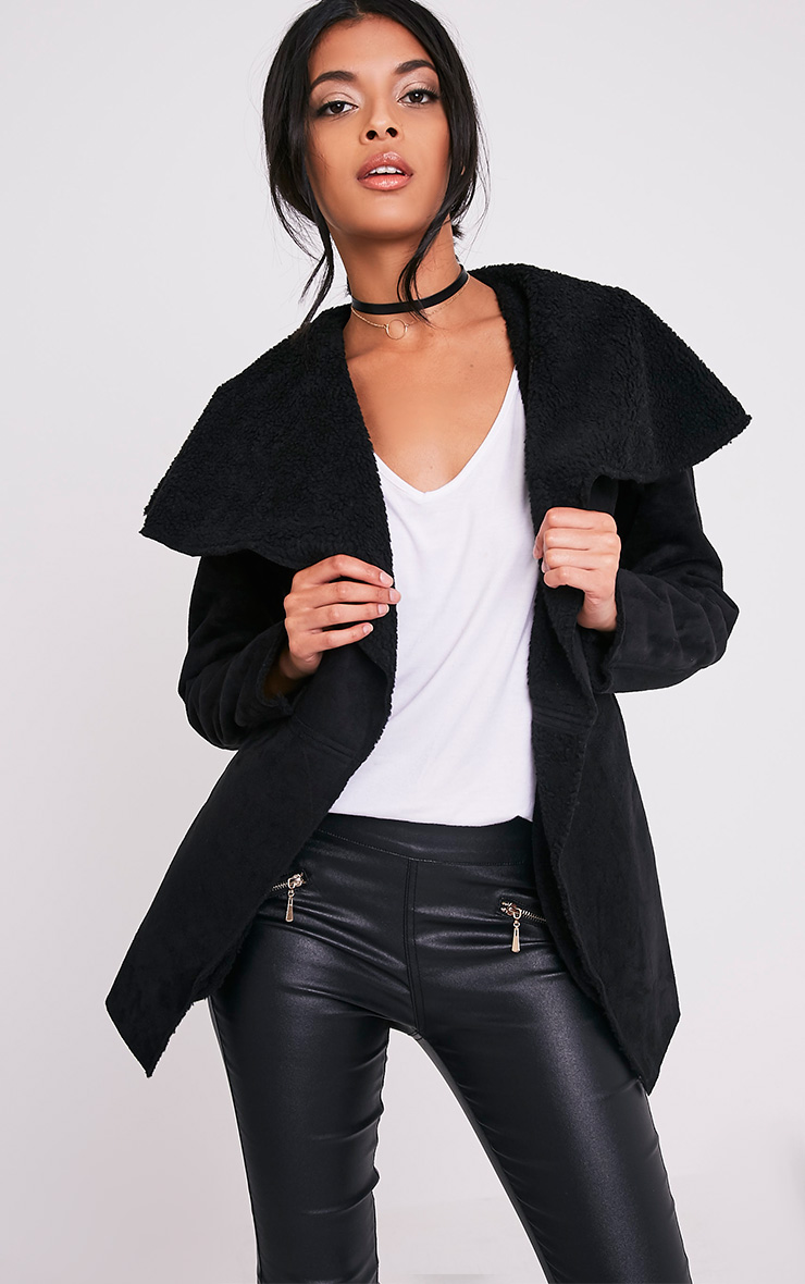 Irise Black Faux Suede Shearling Aviator Style Coat