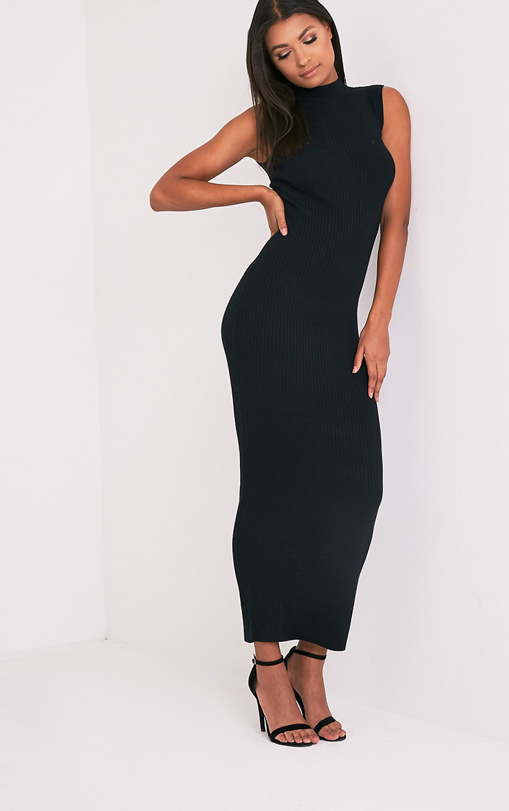 Zeva Black Ribbed Sleeveless Knitted Maxi Dress